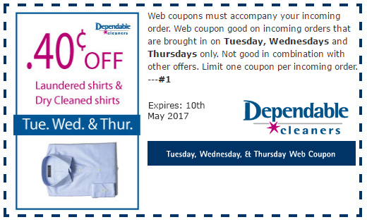Discount coupons for dependable cleaners